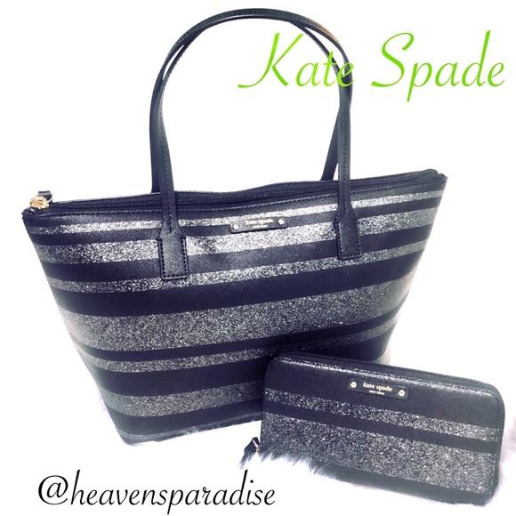 4bf0c02dd6ab6 Kate Spade Hani Haven Ln.Black Glitter Stripe set